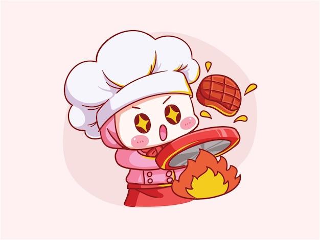 Cute y kawaii chef mujer musulmana vistiendo hijab cocinar carne manga chibi