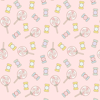 Cute kawaii dulces transparente de patrones sin fisuras