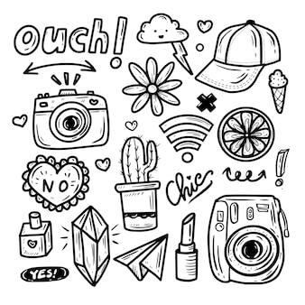 Cute kawaii icon doodle set colección