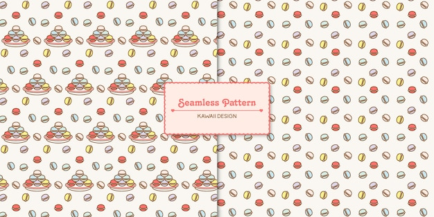 Cute kawaii macarons transparente de patrones sin fisuras