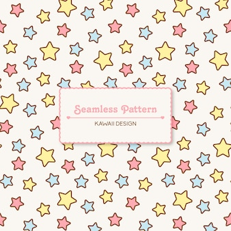 Cute kawaii stars transparente de patrones sin fisuras