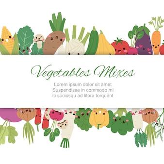 Cute kawaii verduras se mezclan con brócoli, zanahoria, tomate, pimiento y cebolla, chile, berenjena, ilustración de dibujos animados de maíz.
