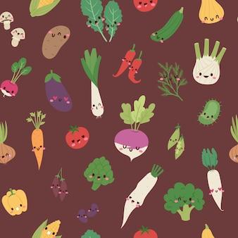 Cute kawaii verduras se mezclan con brócoli, zanahoria, tomate, pimiento y cebolla, chile, berenjena, maíz de dibujos animados ilustración de patrones sin fisuras.