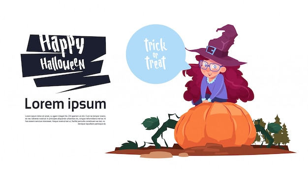 Cute kid wear witch costume sit on pumpkin, happy halloween banner party celebration concept