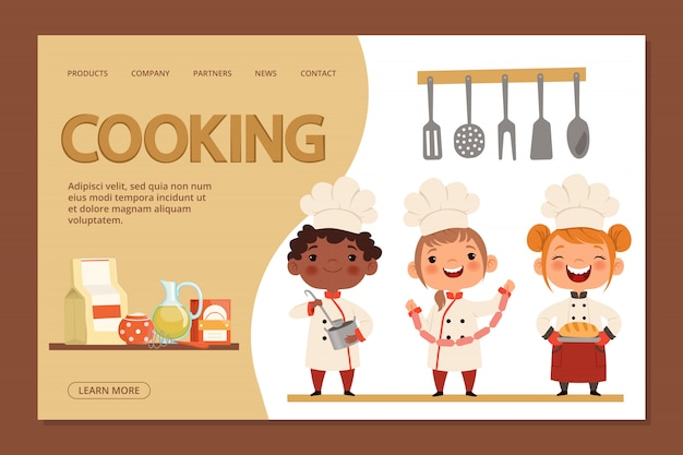 Cute kids chefs - plantilla de banner de página de destino de cocina con niños de dibujos animados y utensilios