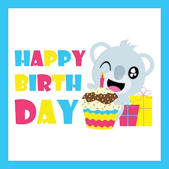 Cute koala con cupcake de cumpleaños y regalos vector de dibujos animados, postal de cumpleaños, papel tapiz y tarjeta de felicitación, diseño de la camiseta para niños