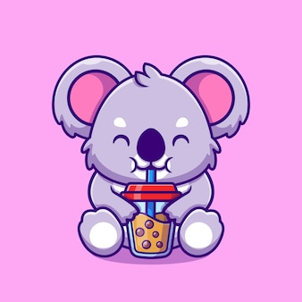 Cute koala drink boba bubble tea cup dibujos animados