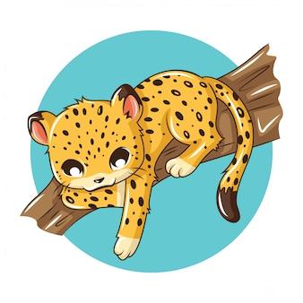 Cute leopard cartoon animail., concepto de dibujos animados de animales.
