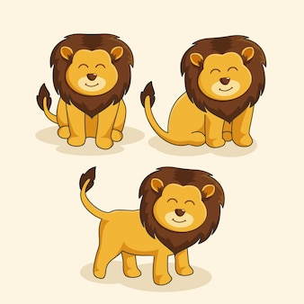 Cute lion king cartoon animal set