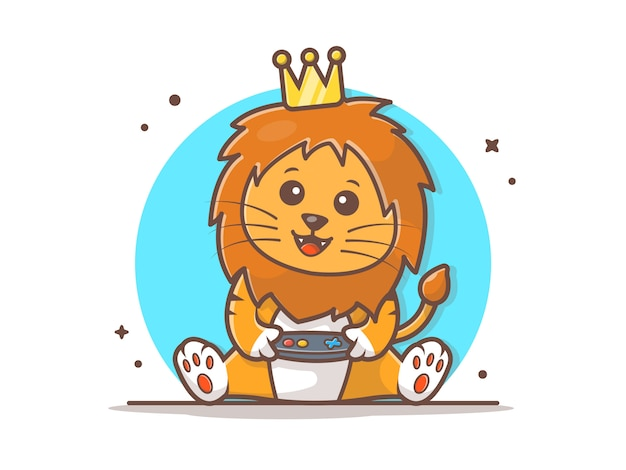 Cute lion king gaming mascot vector icono ilustración