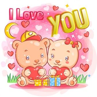 Cute little bear couple sentimiento de amor en el día de san valentín ilustración