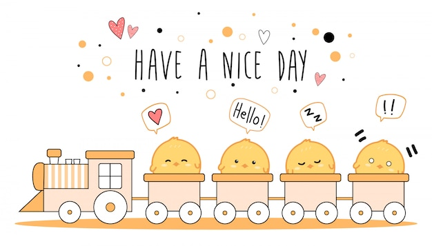 Cute little chickens on train cartoon doodle banner