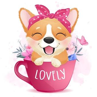 Cute little corgi sentado dentro de una taza