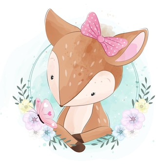 Cute little dear con flor