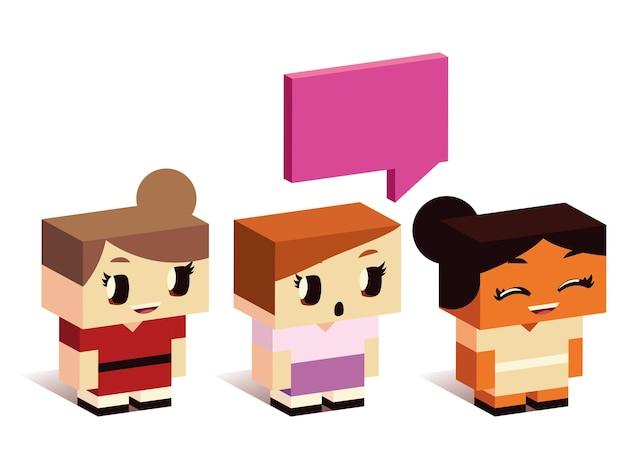 Cute little girls discurso burbuja hablando de dibujos animados, ilustración de vector de estilo isométrico