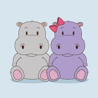 Cute little hippos couple characters