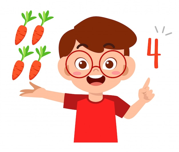 Cute little kid boy estudiar matemáticas número recuento vegetal