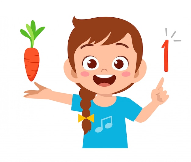 Cute little kid girl estudio matemático número cuenta vegetal