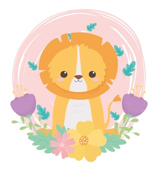 Cute little lion flores deja follaje animales de dibujos animados en un paisaje natural