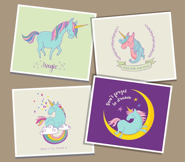 Cute magic unicon y rainbow tarjetas de felicitación Vector Premium