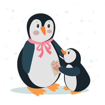 Cute mommy and baby penguin