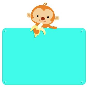 Cute monkey hold vector de plátano y tablero en blanco