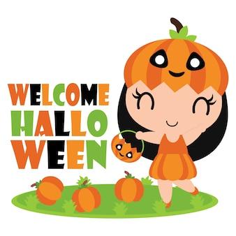 Cute niña de calabaza paseos en el jardín de calabazas vector de ilustración de dibujos animados para el diseño de papel de halloween,