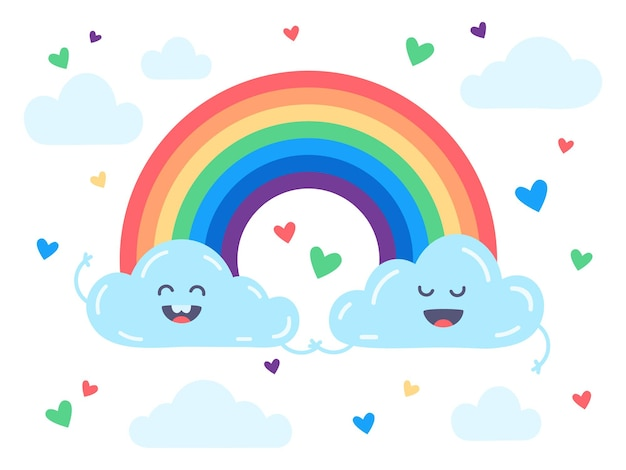 Cute nubes y arco iris ilustración plana