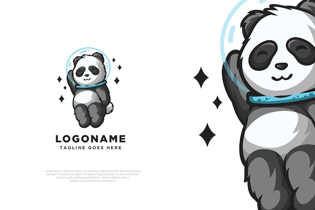Cute panda astronaut logo design