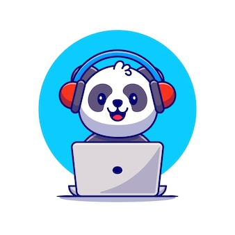 Cute panda escuchando música con auriculares y portátil cartoon icon illustration. animal music icon concept premium. estilo de dibujos animados plana