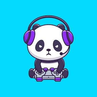 Cute panda gaming