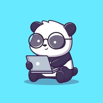 Cute panda play laptop ilustración. tecnología animal. estilo plano de dibujos animados