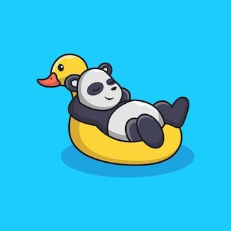 Cute panda relájese sobre neumáticos de pato con cute pose.