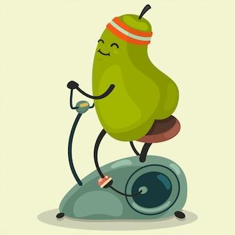 Cute pear hace ejercicio en una bicicleta estacionaria. vector de dibujos animados ilustración plana aislado. comer sano y en forma.