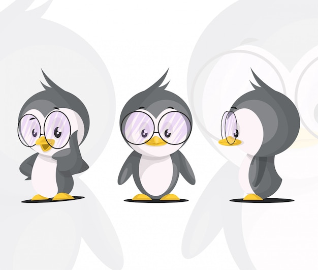 Cute penguin character set