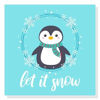 Cute penguin snow