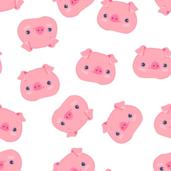 Cute pig pattern seamless
