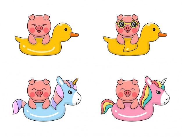 Cute pig swiming con swim duck y unicorn