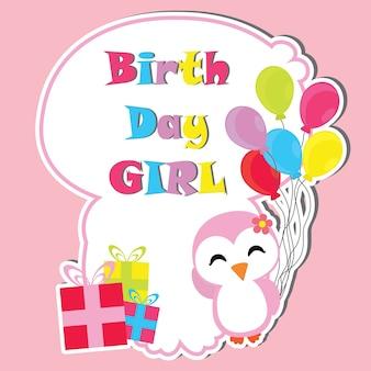 Cute pingüino niña con regalos de cumpleaños y globos marco vector de dibujos animados, postal de cumpleaños, papel tapiz y tarjeta de felicitación, diseño de la camiseta para niños