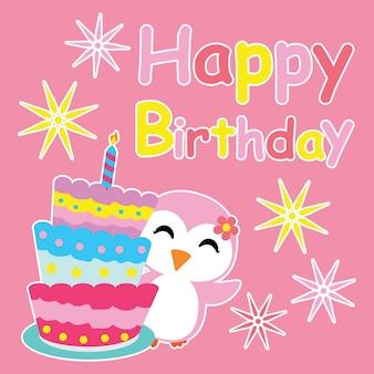 Cute pingüino niña sonríe al lado de la torta de cumpleaños vector de dibujos animados, postal de cumpleaños, papel tapiz y tarjeta de felicitación, diseño de la camiseta para niños