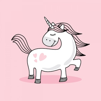 Cute pink baby unicorn doodle sketch