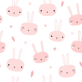 Cute pink rabbit bunny head cartoon doodle de patrones sin fisuras