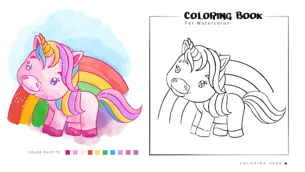 Cute pink unicorn on the rainbow, ilustración de dibujos animados para acuarela para colorear libro