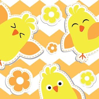 Cute polluelos de dibujos animados sobre fondo naranja a rayas, postal de pascua, saludo y tarjeta de invitación, ilustración vectorial