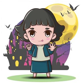 Cute pop ghost en fondo de luna llena pop ghost es una divinidad familiar de la religión popular tailandesa concepto de halloween