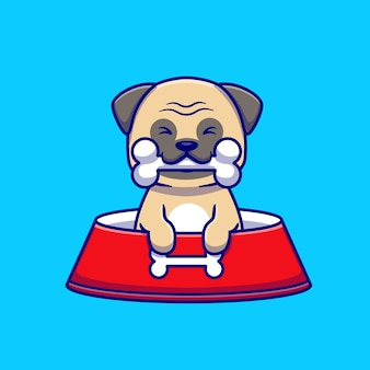 Cute pug eat bone cartoon icon ilustración.