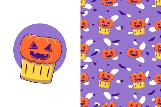 Cute pumpkin in cup feliz halloween con patrones sin fisuras