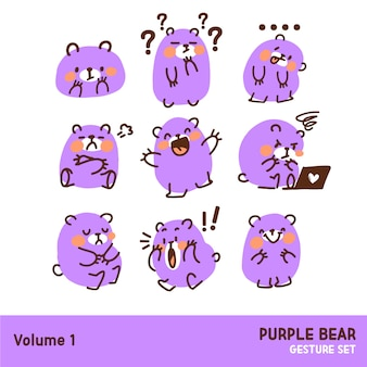 Cute purple bear emoticon gesture doodle illustration juego de caracteres
