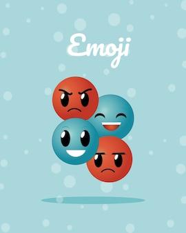 Cute redondas emojis dibujos animados