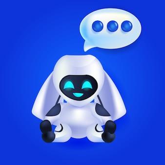 Cute robot cyborg chat bubble comunicación chatbot servicio al cliente inteligencia artificial tecnología concepto de longitud completa ilustración vectorial